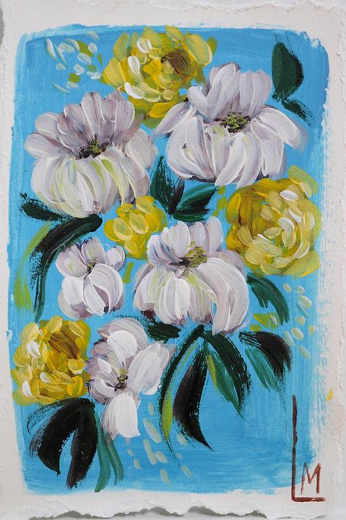 LE FLEUR in BLEU (Hand Embellished Print)