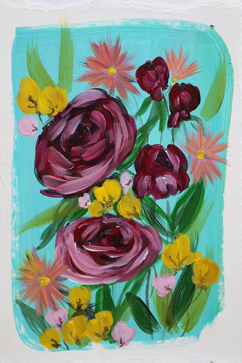 LE FLEUR in TURQUOISE (Hand Embellished Print)