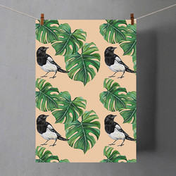 Monstera and Magpie Tea towel