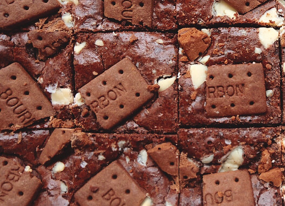 Bourbon biscuit + white chocolate chip brownies