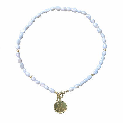 Golden Initial Coin Pearl Necklace