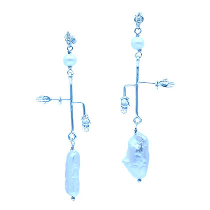 Kamaria's Hands Earrings in White Gold Plated