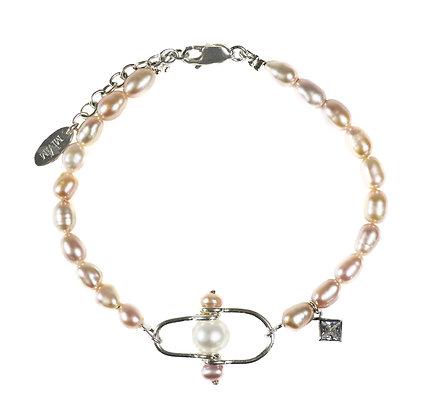 Pink pearl bracelet, rice shape pearl bracelet