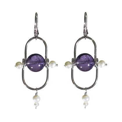 Amethyst earrings, pearl earring, Sterling silver earrings