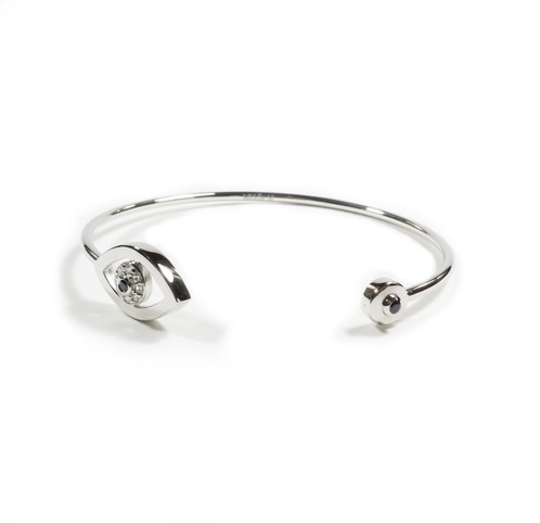Evil Eye White Gold Cuff Bracelet