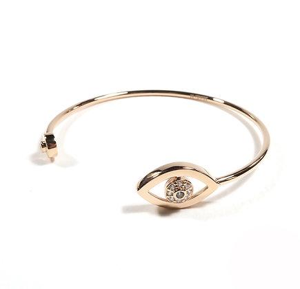 Evil eye cuff pink gold bracelet