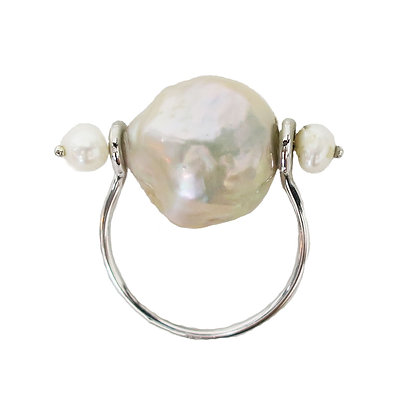 Champagne pearl ring, handmade ring