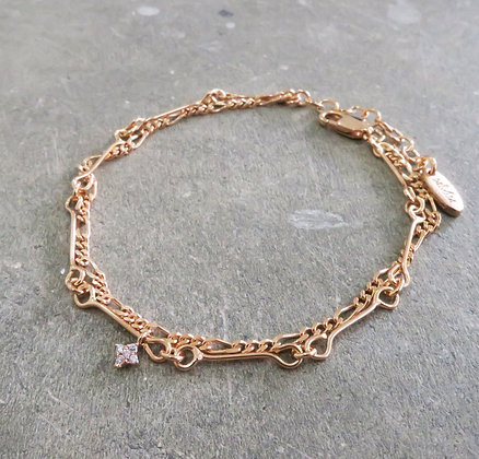 Pink gold chain bracelet handmade CZ diamond Middle M jewelry Bangkok