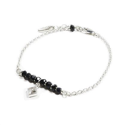 Sapphire silver bracelet CZ diamond