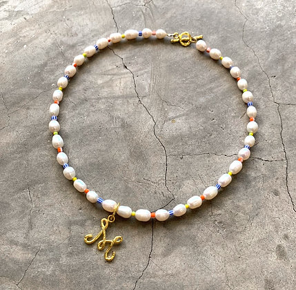 Beach Letter Pearl Necklace