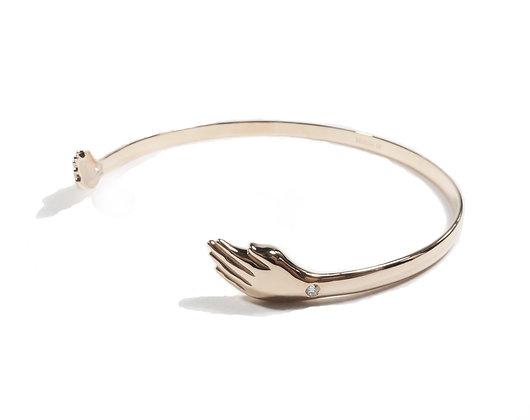 Hamsa choker pink gold jewelry