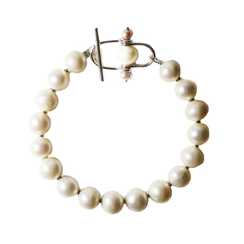 White Fresh Water Pearl Toggle Bracelet