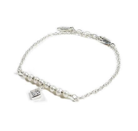 Pearl silver CZ diamond bracelet