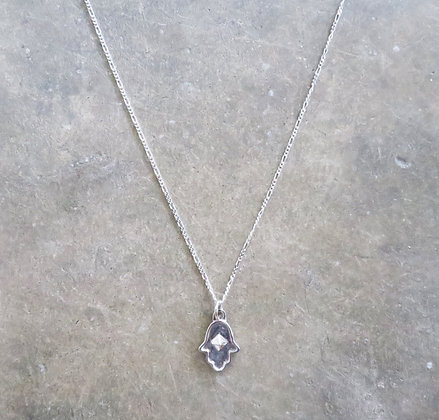 Sterling silver Hamsa chain necklace by Middle M Jewelry Bangkok