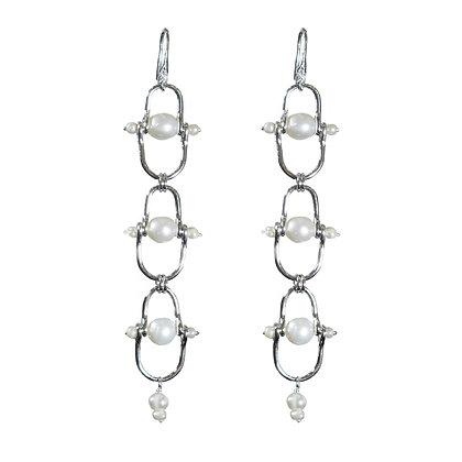 Handmade sterling silver pearl earrings