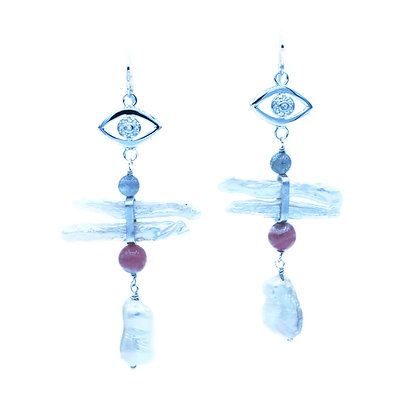 Moon Totem Earrings in White Gold Plated