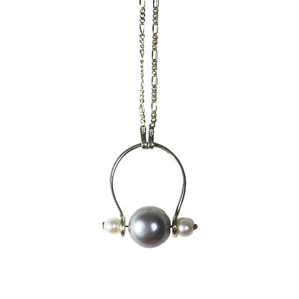 Fresh water pearl sterling silver chain necklace