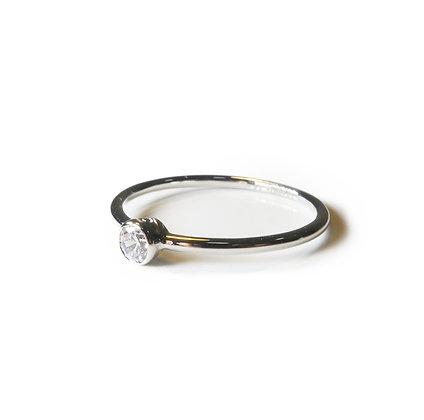 Simple thin ring, one diamond ring