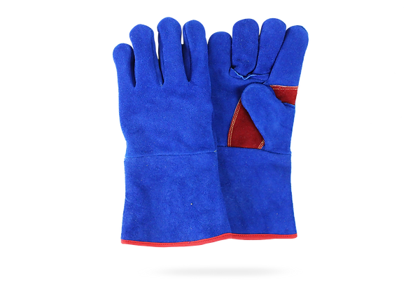 BLUE GLOVE FOR WELDER WITH RED DETAILS