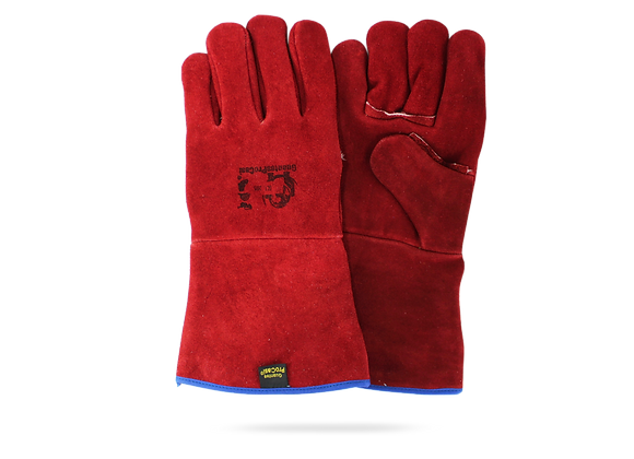 RED GLOVE FOR SPARE WELDER WITH KEVLAR THREAD