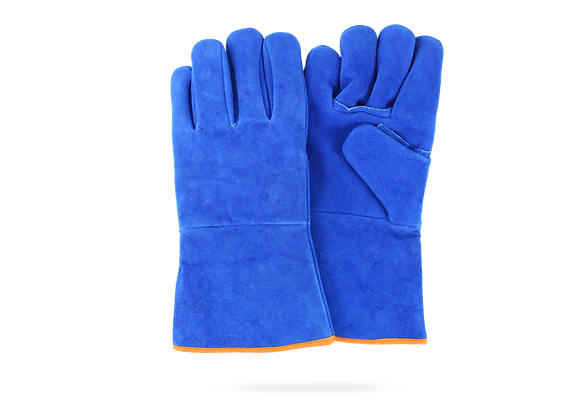 BLUE GLOVE FOR WELDER WITH INTERNAL LINING AND SPIKE WITH KEVLAR THREAD