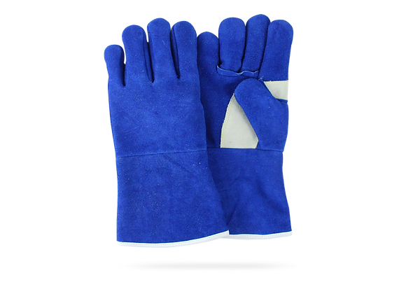BLUE GLOVE FOR WELDER WITH WHITE DETAILS
