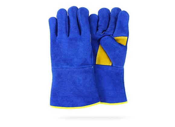 BLUE GLOVE FOR WELDER W/ DETAILS IN YELLOW