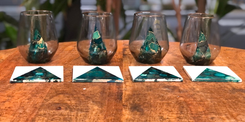 Kenmore -The Kenmore Tavern - Alcohol Ink Glasses and Tiles