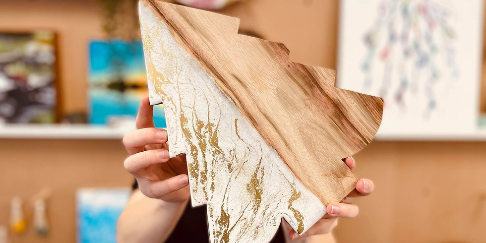 Indooroopilly- Pig 'N' Whistle - Learn how resin a beautiful Camphor Laurel Cheese Board + 2 Coasters (1)