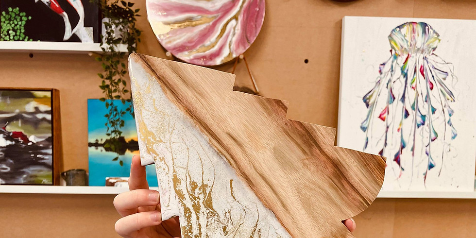 Indooroopilly-Pig ' N ' Whistle - Learn how resin a beautiful Camphor Laurel Cheese Board + 2 Coasters (1)