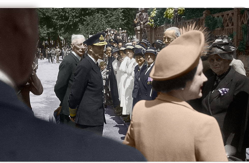 King and Queen 7 June 1945 B & W Colouri