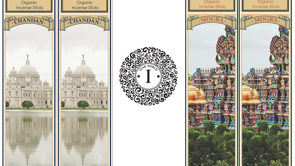 Chandan and Mogra - The IVAR House Blend Organic Incense Sticks Combo Packs