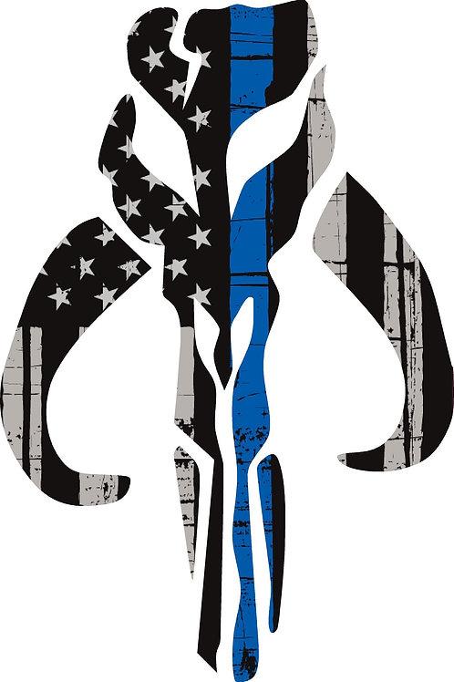 MANDALOREAN DISTRESSED THIN BLUE LINE AMERICAN FLAG
