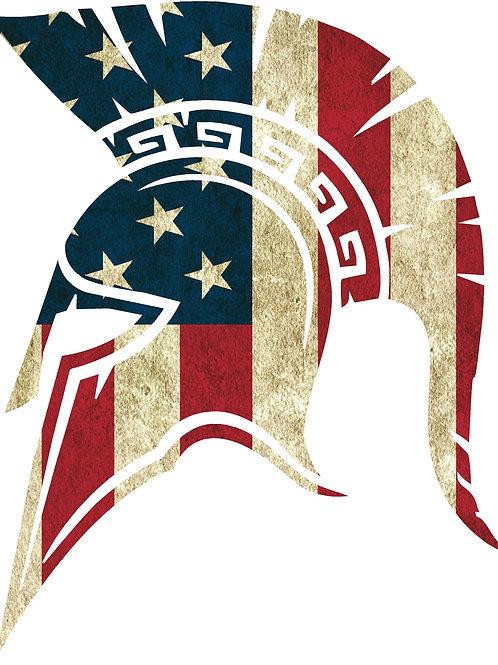 SPARTAN SIDE MOLON LABE AMERICAN FLAG DECAL