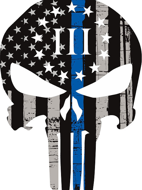 3% PUNISHER THIN BLUE LINE AMERICAN FLAG