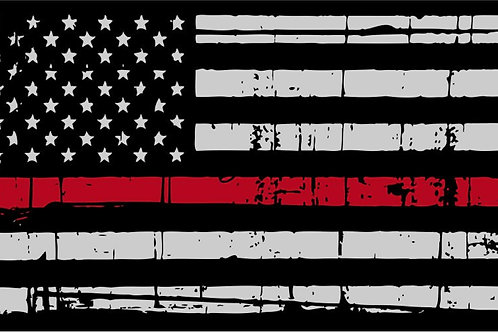 DISTRESSED THIN RED LINE AMERICAN FLAG DECAL