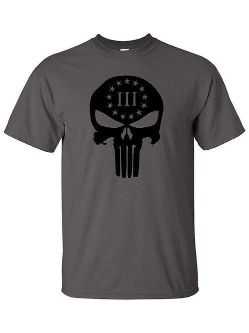 3% Punisher Skull T-Shirt w/ Free Matching Can Koozie