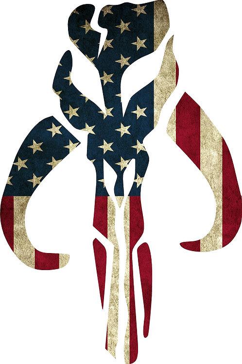 MANDALOREAN AMERICAN FLAG DECAL