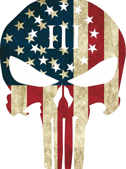 3% PUNISHER AMERICAN FLAG DECAL