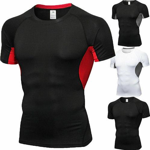 Men Short Sleeve Fitness Elastic Running Sport T-Shirt