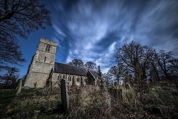 Tyringham Church at night