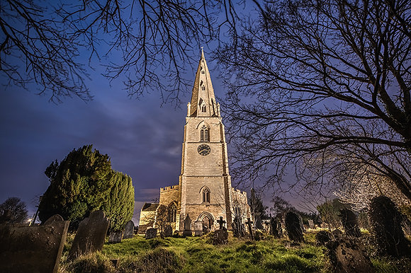 Olney Church at night