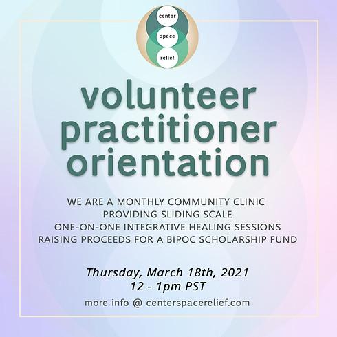 center/space/relief Online Healing Clinic Volunteer Practitioner Orientation