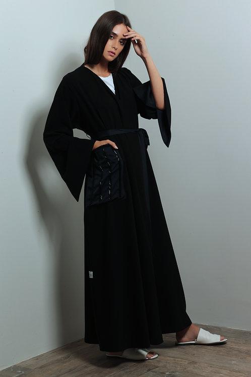 Blue beaded pockets abaya