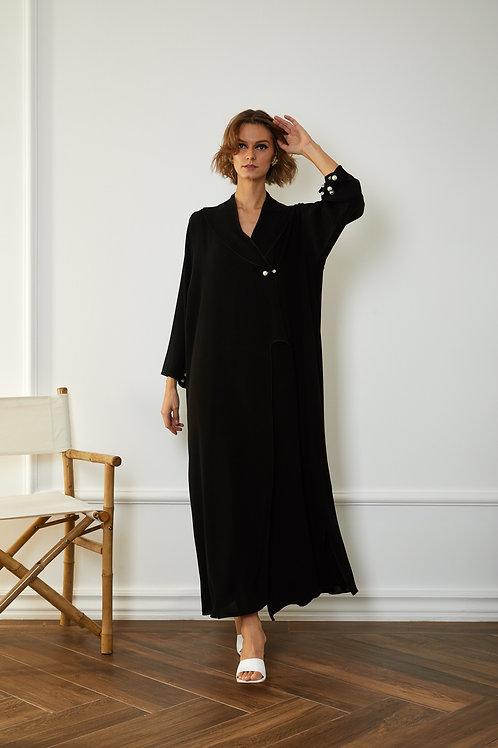 The crystal button black jacket abaya