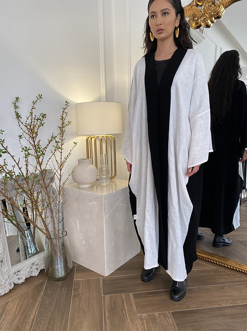 The linen front Abaya
