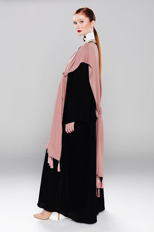 Light Silk Blend Abaya with attached belts