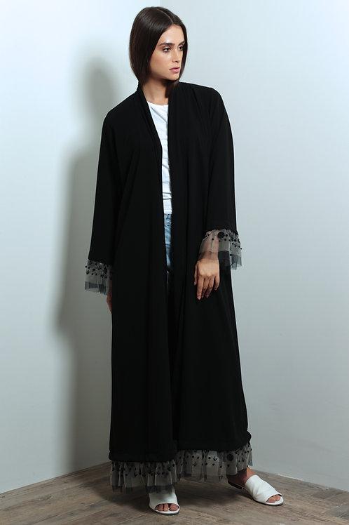 Tool layered sleeves abaya with beading  details
