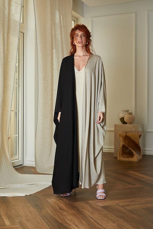 Asymmetric black and beige linen bisht