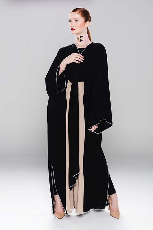 black light abaya with silver trimming
